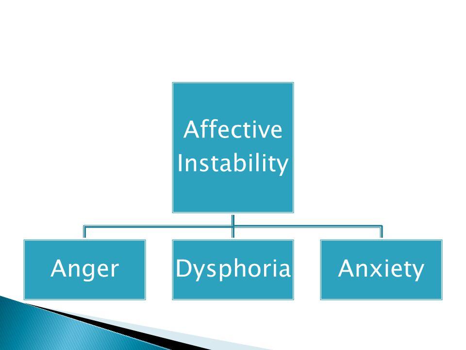 Affective Instability AngerDysphoriaAnxiety