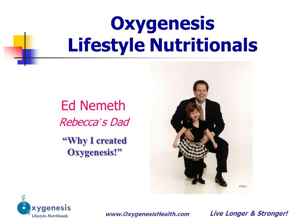 www.OxygenesisHealth.com Oxygenesis Products Timelines 1.