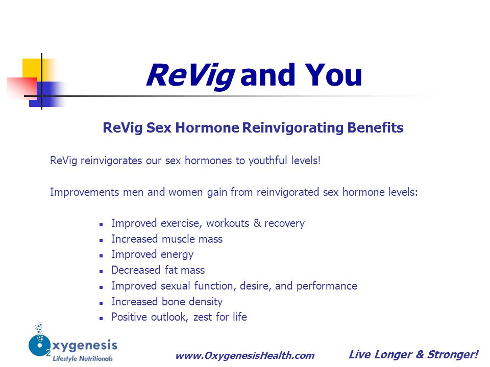 www.OxygenesisHealth.com ReVig and You Live Longer & Stronger! ReVig Sex Hormone Reinvigorating Benefits ReVig reinvigorates our sex hormones to youth