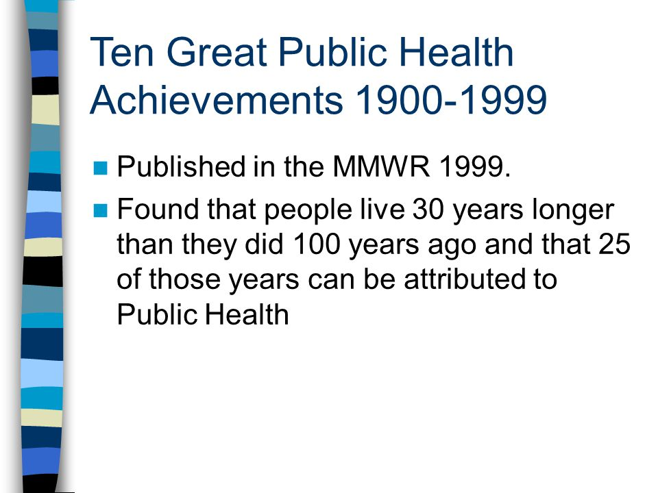 Ten Great Public Health Achievements 1900-1999 Published in the MMWR 1999.