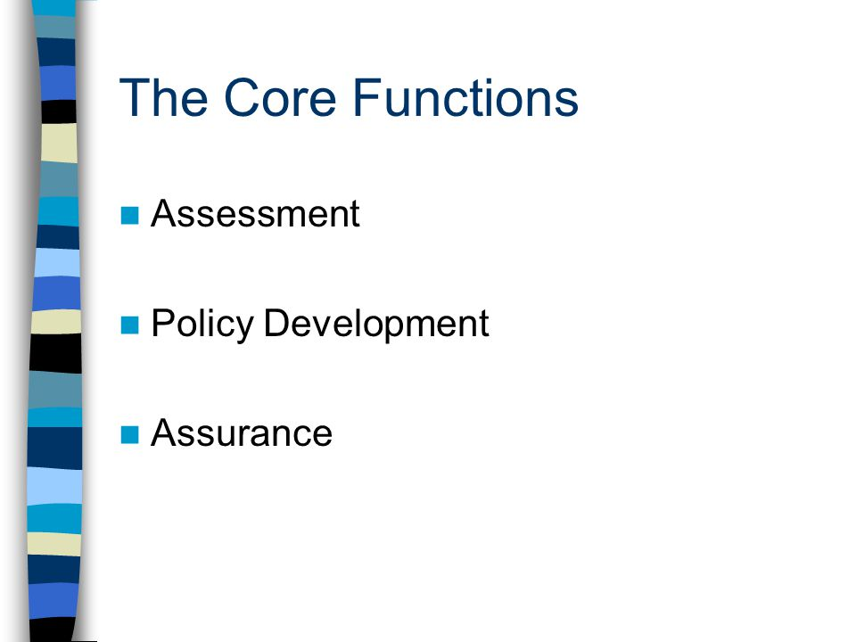 The Core Functions Assessment Policy Development Assurance