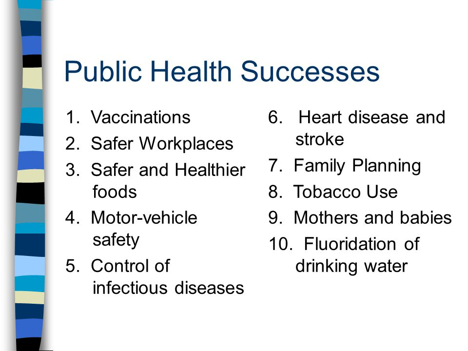 Public Health Successes 1. Vaccinations 2. Safer Workplaces 3.