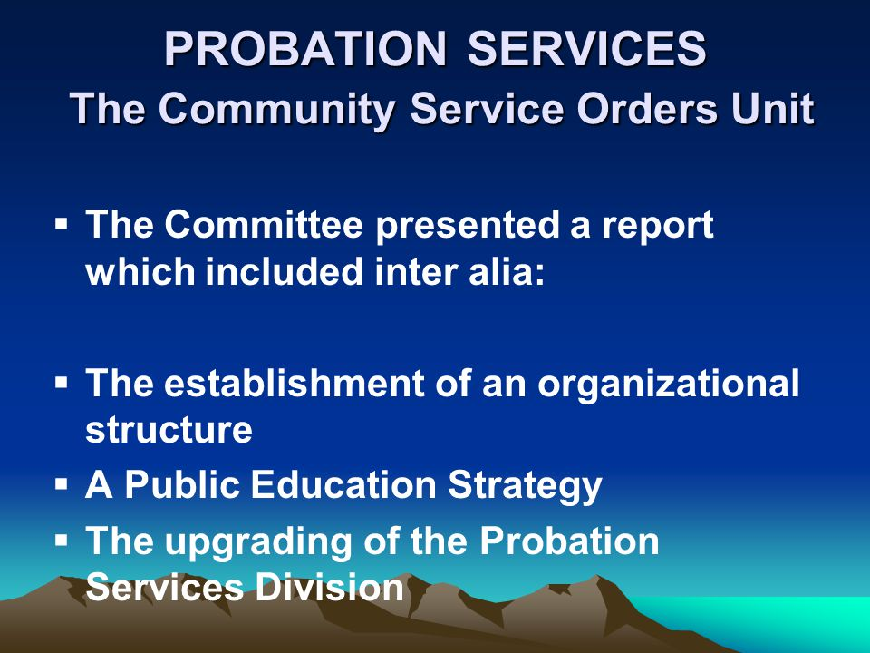 PROBATION SERVICES The Community Service Orders Unit The Committee presented a report which included inter alia: The establishment of an organizationa