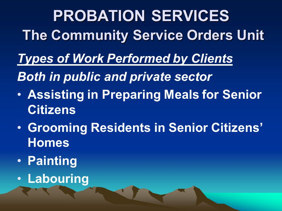 PROBATION SERVICES The Community Service Orders Unit Types of Work Performed by Clients Both in public and private sector Assisting in Preparing Meals