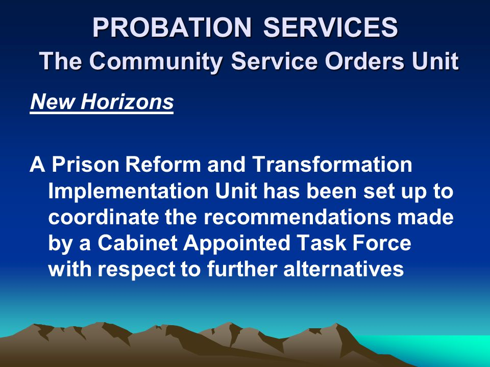 PROBATION SERVICES The Community Service Orders Unit New Horizons A Prison Reform and Transformation Implementation Unit has been set up to coordinate the recommendations made by a Cabinet Appointed Task Force with respect to further alternatives