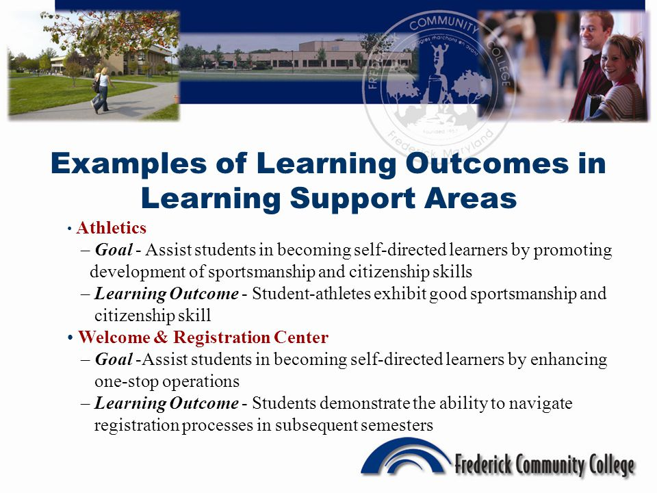 Examples of Learning Outcomes in Learning Support Areas Athletics – Goal - Assist students in becoming self-directed learners by promoting development of sportsmanship and citizenship skills – Learning Outcome - Student-athletes exhibit good sportsmanship and citizenship skill Welcome & Registration Center – Goal -Assist students in becoming self-directed learners by enhancing one-stop operations – Learning Outcome - Students demonstrate the ability to navigate registration processes in subsequent semesters