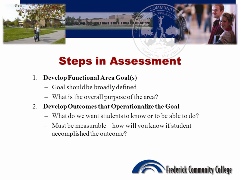 Steps in Assessment 1. Develop Functional Area Goal(s) –Goal should be broadly defined –What is the overall purpose of the area? 2. Develop Outcomes t