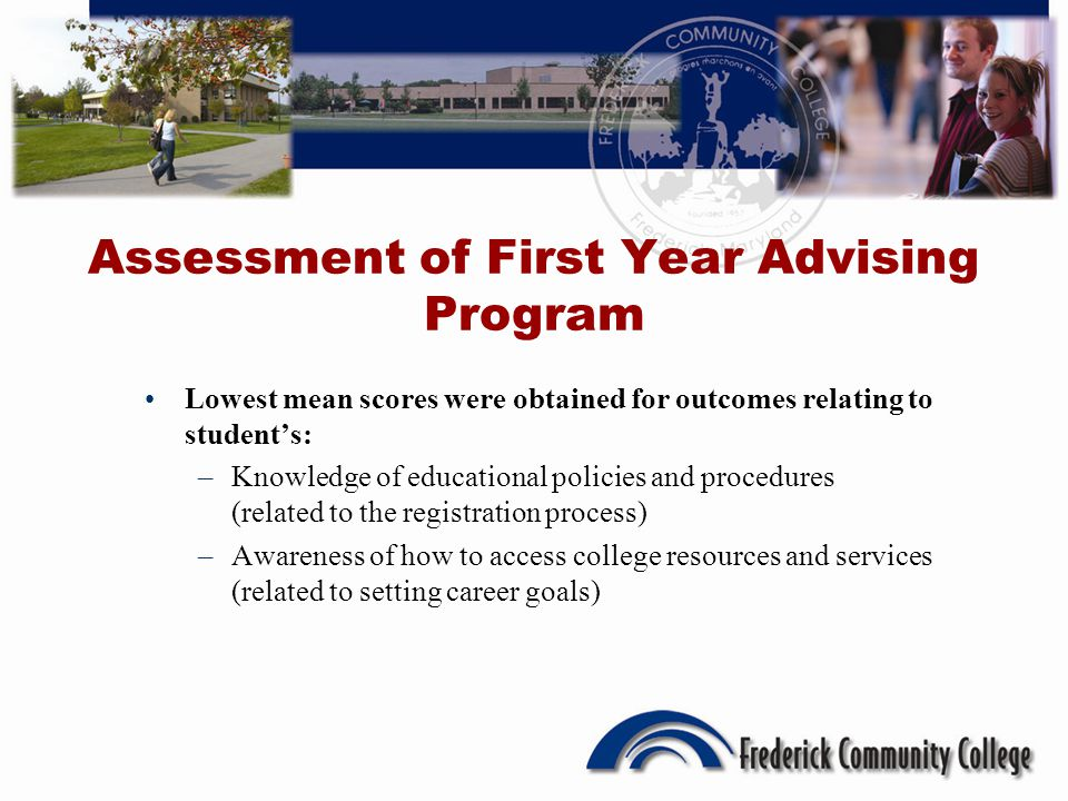 Assessment of First Year Advising Program Lowest mean scores were obtained for outcomes relating to students: –Knowledge of educational policies and procedures (related to the registration process) –Awareness of how to access college resources and services (related to setting career goals)