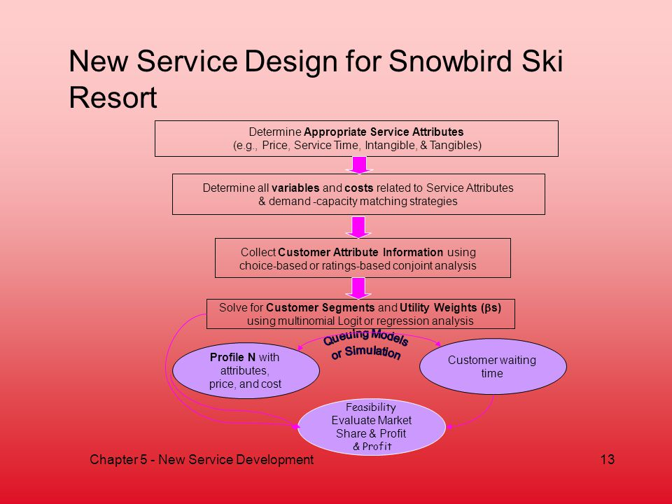 Chapter 5 - New Service Development13 New Service Design for Snowbird Ski Resort Determine Appropriate Service Attributes (e.g., Price, Service Time, Intangible, & Tangibles) Determine all variables and costs related to Service Attributes & demand -capacity matching strategies Solve for Customer Segments and Utility Weights ( s) using multinomial Logit or regression analysis Collect Customer Attribute Information using choice-based or ratings-based conjoint analysis Feasibility Evaluate Market Share & Profit & Profit Profile N with attributes, price, and cost Customer waiting time