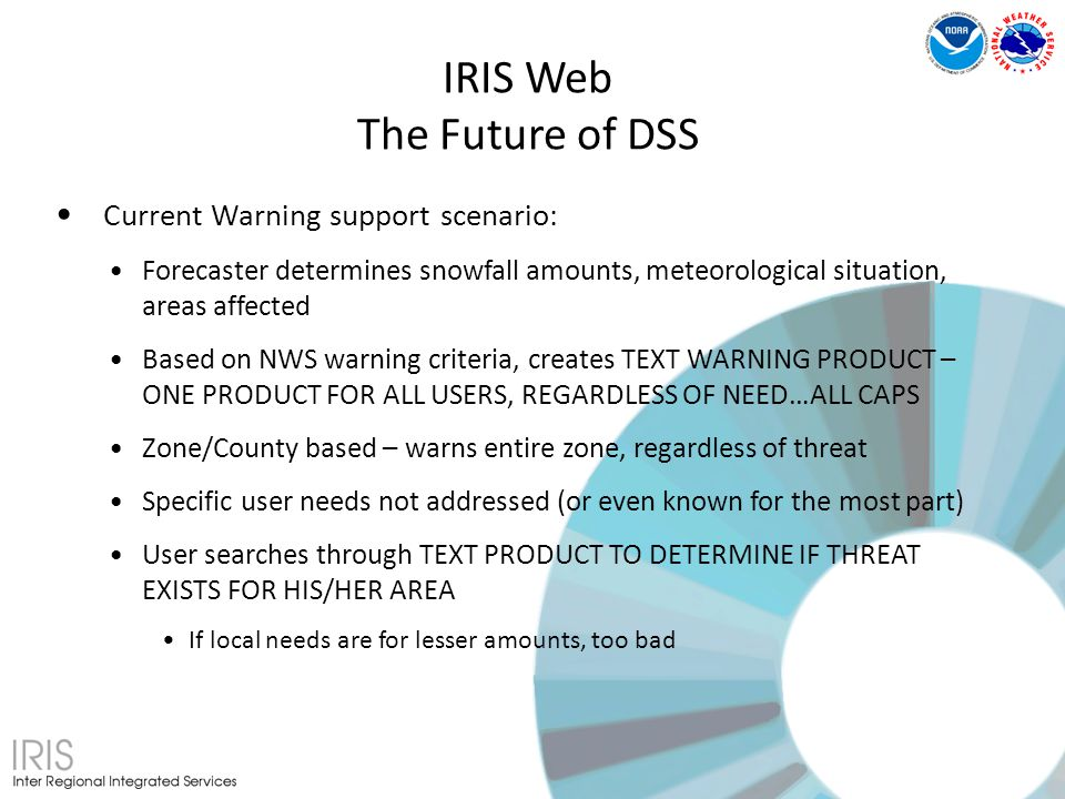 Current Warning support scenario: Forecaster determines snowfall amounts, meteorological situation, areas affected Based on NWS warning criteria, creates TEXT WARNING PRODUCT – ONE PRODUCT FOR ALL USERS, REGARDLESS OF NEED…ALL CAPS Zone/County based – warns entire zone, regardless of threat Specific user needs not addressed (or even known for the most part) User searches through TEXT PRODUCT TO DETERMINE IF THREAT EXISTS FOR HIS/HER AREA If local needs are for lesser amounts, too bad IRIS Web The Future of DSS