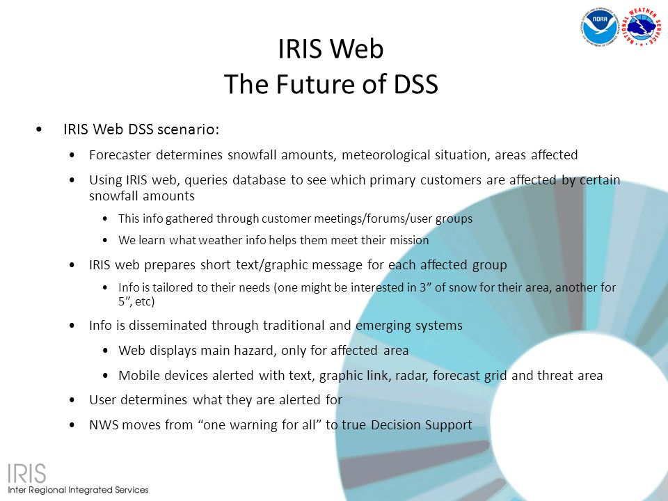 IRIS Web DSS scenario: Forecaster determines snowfall amounts, meteorological situation, areas affected Using IRIS web, queries database to see which primary customers are affected by certain snowfall amounts This info gathered through customer meetings/forums/user groups We learn what weather info helps them meet their mission IRIS web prepares short text/graphic message for each affected group Info is tailored to their needs (one might be interested in 3 of snow for their area, another for 5, etc) Info is disseminated through traditional and emerging systems Web displays main hazard, only for affected area Mobile devices alerted with text, graphic link, radar, forecast grid and threat area User determines what they are alerted for NWS moves from one warning for all to true Decision Support IRIS Web The Future of DSS