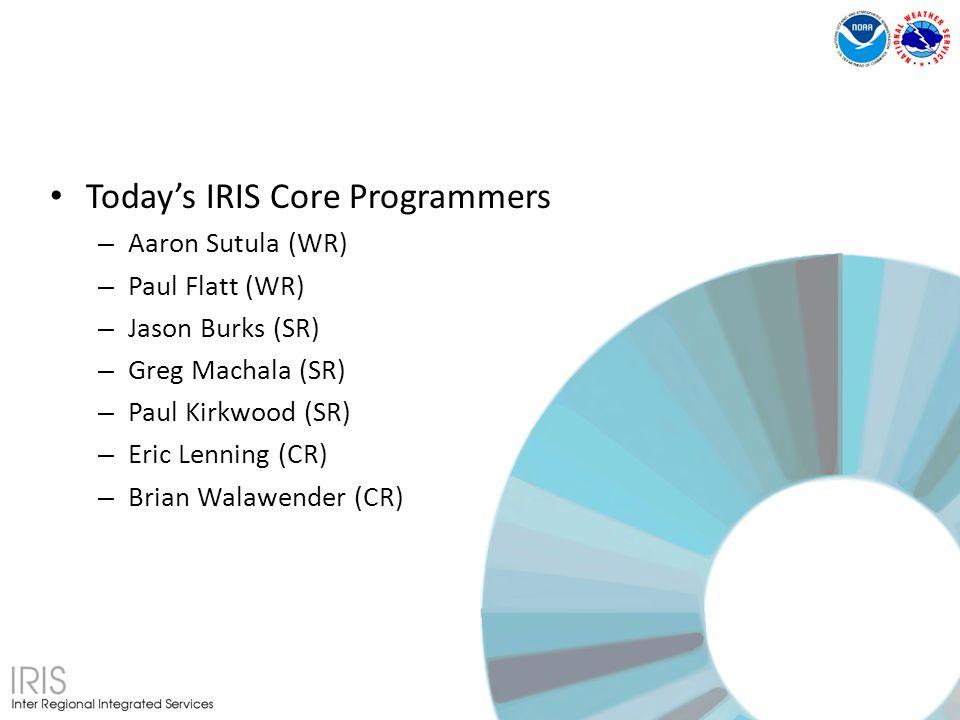Todays IRIS Core Programmers – Aaron Sutula (WR) – Paul Flatt (WR) – Jason Burks (SR) – Greg Machala (SR) – Paul Kirkwood (SR) – Eric Lenning (CR) – Brian Walawender (CR)