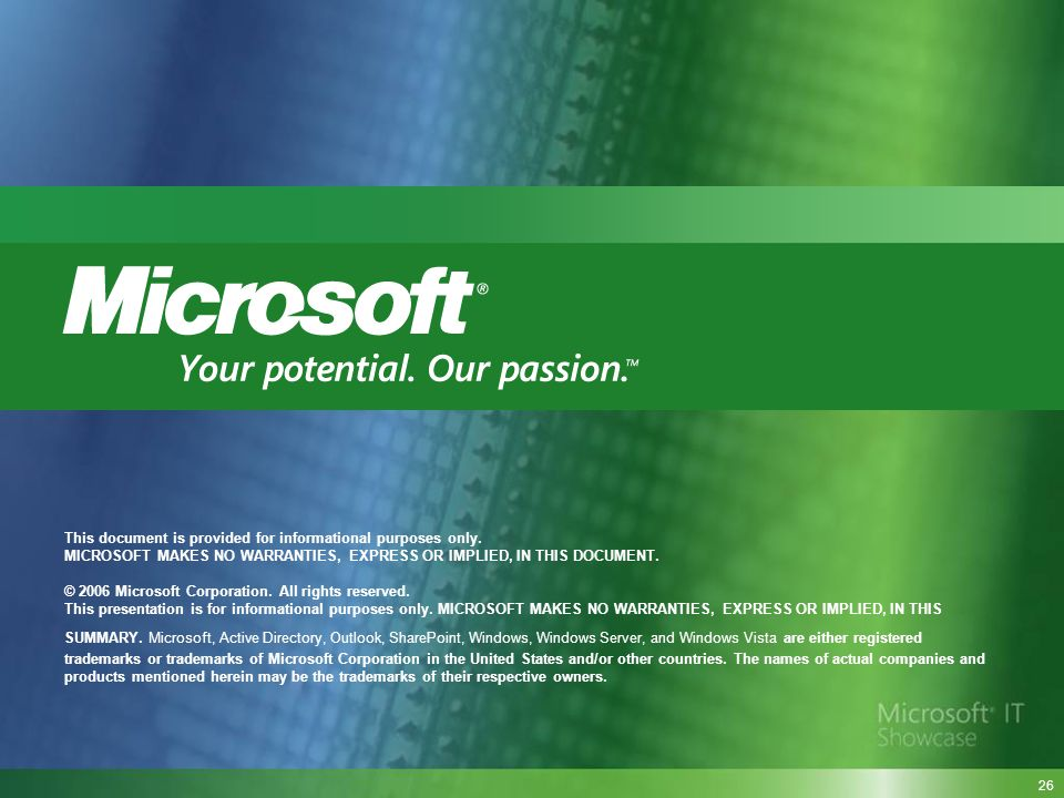 This document is provided for informational purposes only. MICROSOFT MAKES NO WARRANTIES, EXPRESS OR IMPLIED, IN THIS DOCUMENT. © 2006 Microsoft Corpo