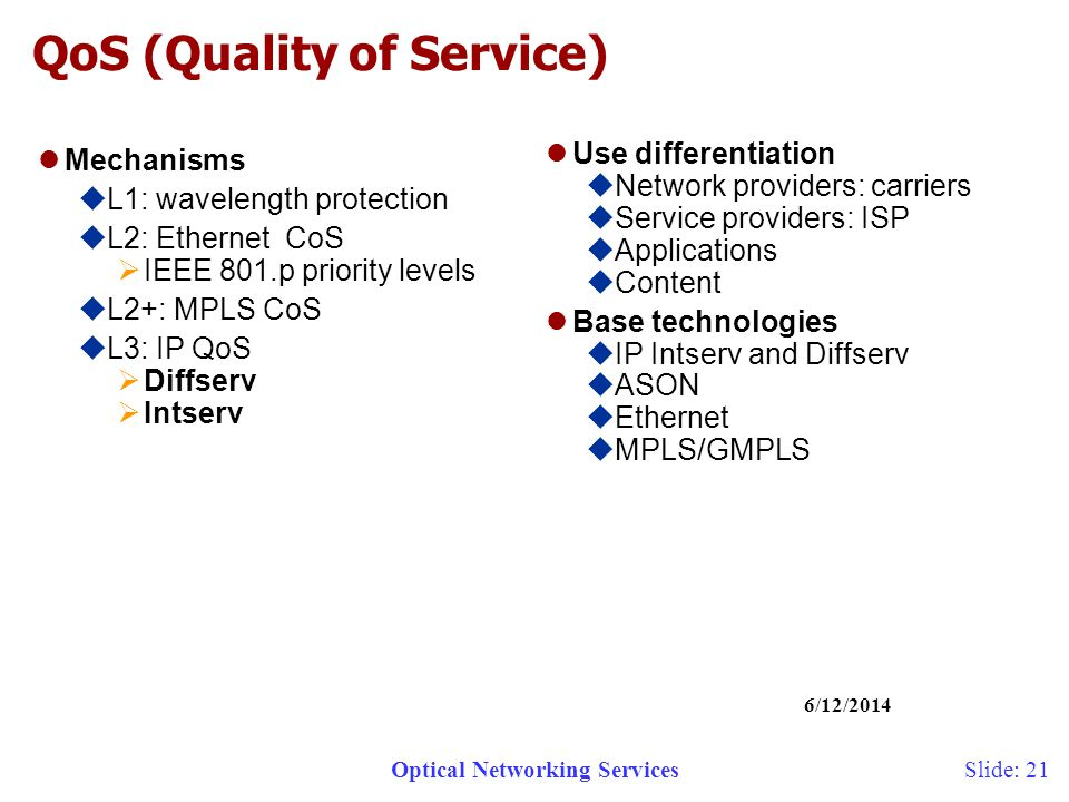 Optical Networking Services 6/12/2014 Slide: 21 QoS (Quality of Service) Mechanisms L1: wavelength protection L2: Ethernet CoS IEEE 801.p priority levels L2+: MPLS CoS L3: IP QoS Diffserv Intserv Use differentiation Network providers: carriers Service providers: ISP Applications Content Base technologies IP Intserv and Diffserv ASON Ethernet MPLS/GMPLS