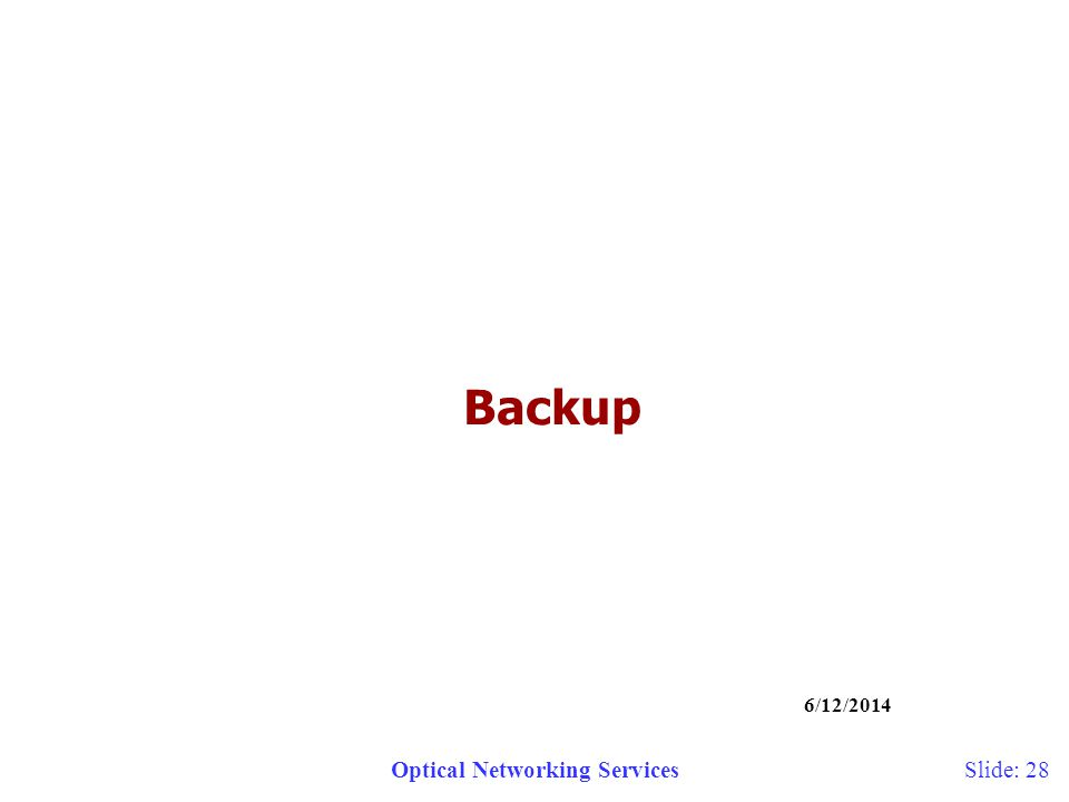 Optical Networking Services 6/12/2014 Slide: 28 Backup
