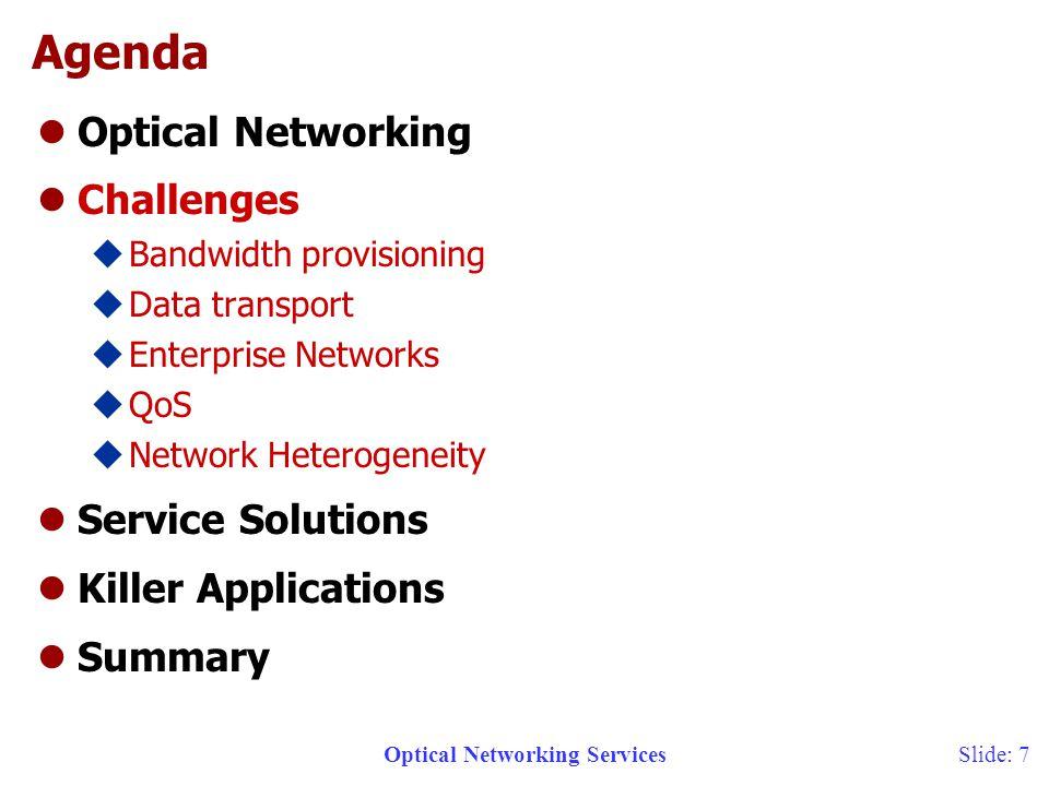 Optical Networking Services 6/12/2014 Slide: 8 OC-192 DWDM n x DS1 DS3 End UserAccessMetroCore Ethernet LAN LL/FR/ATM 1-40Meg OC-12 OC-48 OC-192 IP/DATA 1GigE 40G+ The Metro Bottleneck MetroAccess Other Sites 10G