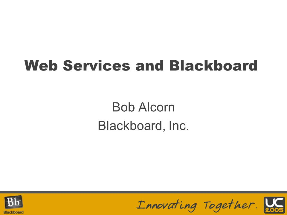 Doing it Today… Blackboard Learning System App Pack 1 and higher incorporate.NET/CLR code for both API layer data access and Web Services (via.asmx) –Gain the benefits of CLR, ease of development with.NET tools Extensions can also package Java-based Web Services tool of choice –Local to web application –E.g., Apache Axis