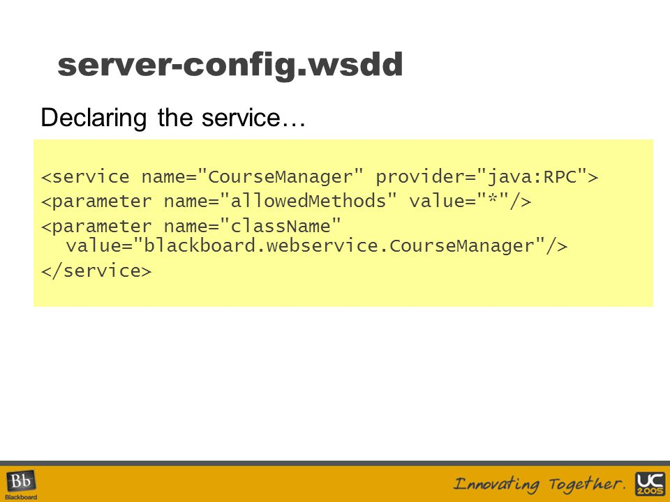 server-config.wsdd Declaring the service…