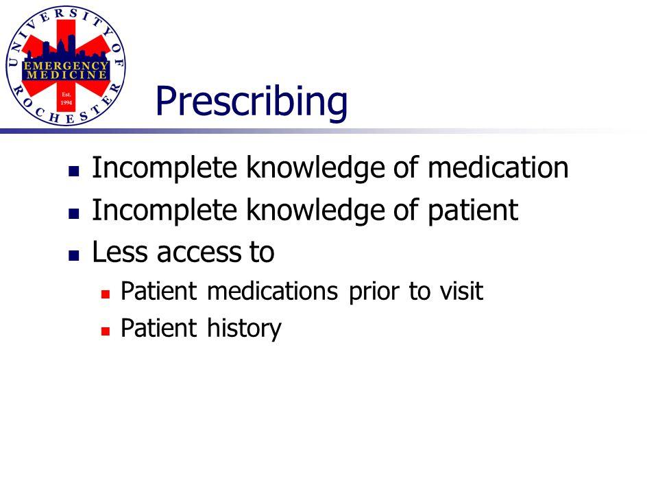 Prescribing Incomplete knowledge of medication Incomplete knowledge of patient Less access to Patient medications prior to visit Patient history