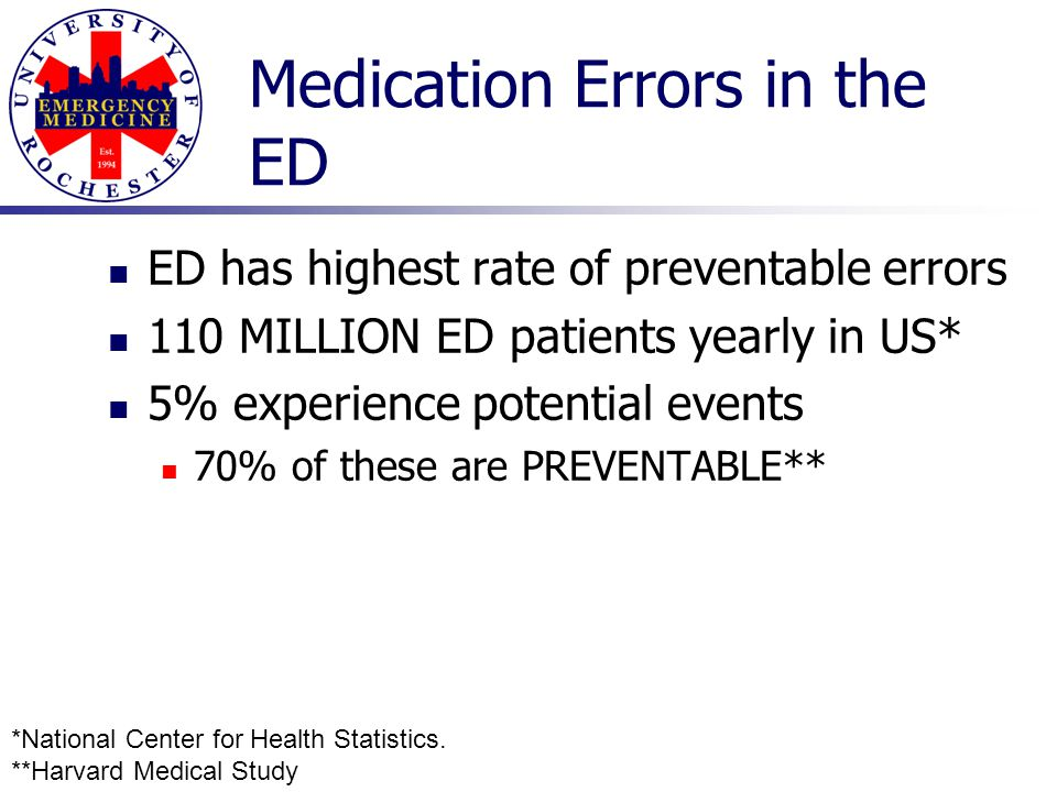 Medication Errors in the ED ED has highest rate of preventable errors 110 MILLION ED patients yearly in US* 5% experience potential events 70% of thes
