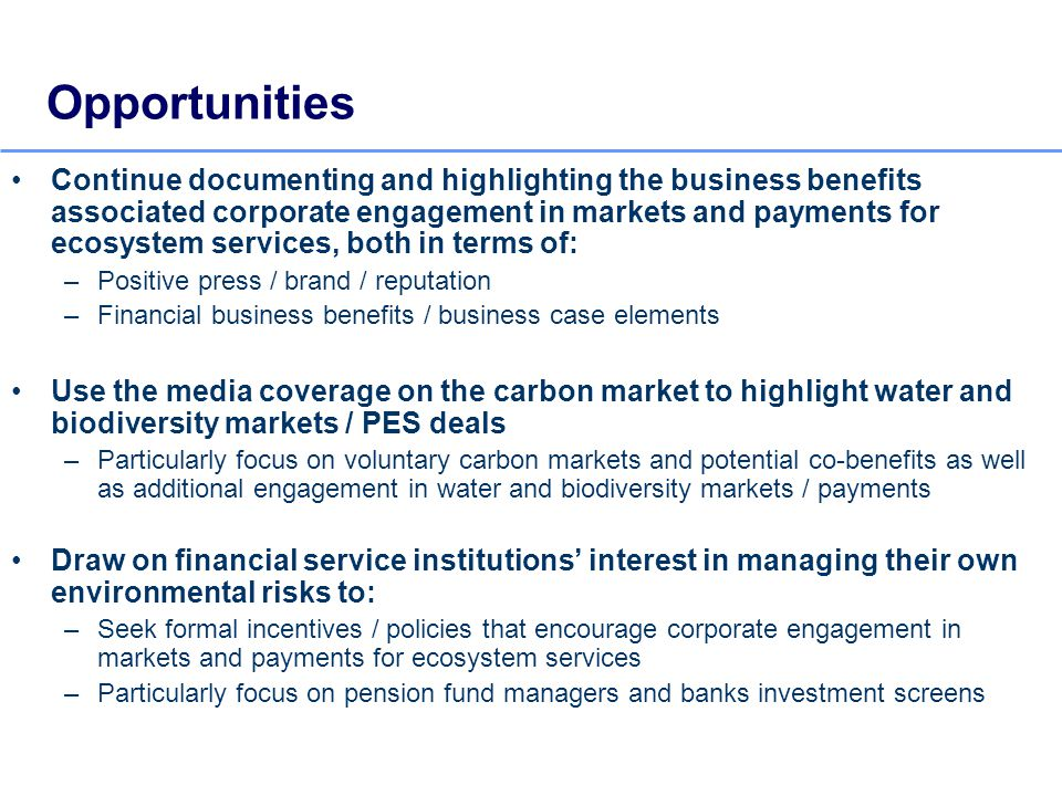 Opportunities Continue documenting and highlighting the business benefits associated corporate engagement in markets and payments for ecosystem services, both in terms of: –Positive press / brand / reputation –Financial business benefits / business case elements Use the media coverage on the carbon market to highlight water and biodiversity markets / PES deals –Particularly focus on voluntary carbon markets and potential co-benefits as well as additional engagement in water and biodiversity markets / payments Draw on financial service institutions interest in managing their own environmental risks to: –Seek formal incentives / policies that encourage corporate engagement in markets and payments for ecosystem services –Particularly focus on pension fund managers and banks investment screens