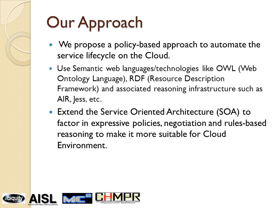Our Approach We propose a policy-based approach to automate the service lifecycle on the Cloud.