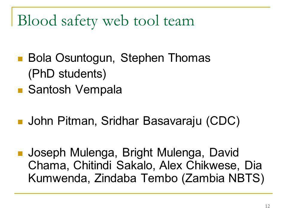 12 Blood safety web tool team Bola Osuntogun, Stephen Thomas (PhD students) Santosh Vempala John Pitman, Sridhar Basavaraju (CDC) Joseph Mulenga, Bright Mulenga, David Chama, Chitindi Sakalo, Alex Chikwese, Dia Kumwenda, Zindaba Tembo (Zambia NBTS)