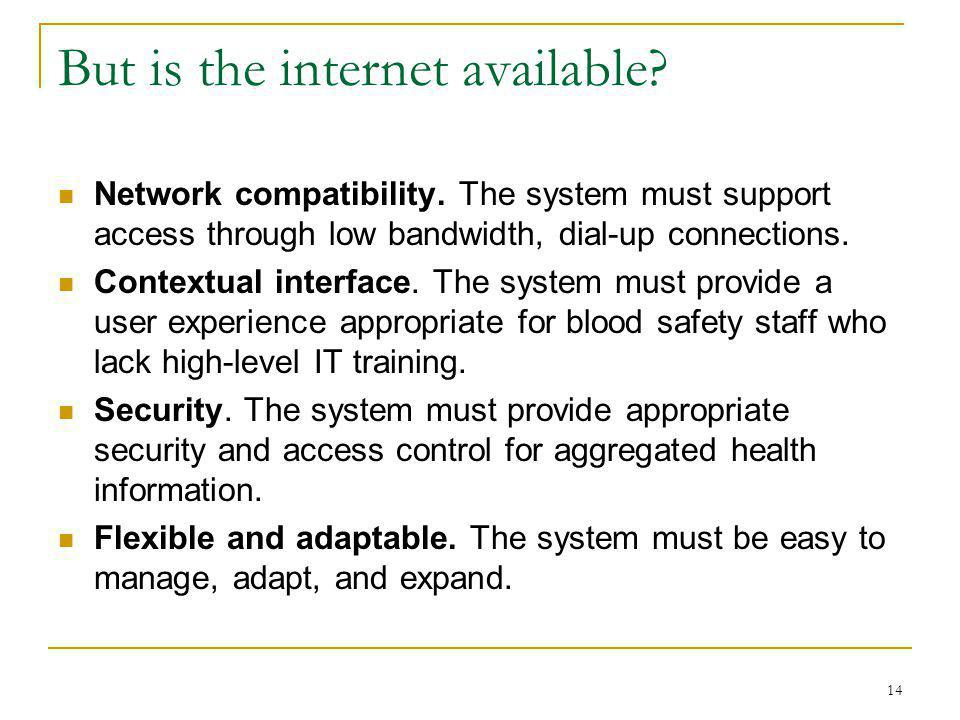 14 But is the internet available. Network compatibility.