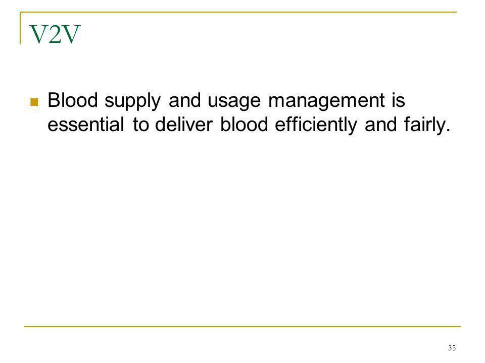 35 V2V Blood supply and usage management is essential to deliver blood efficiently and fairly.