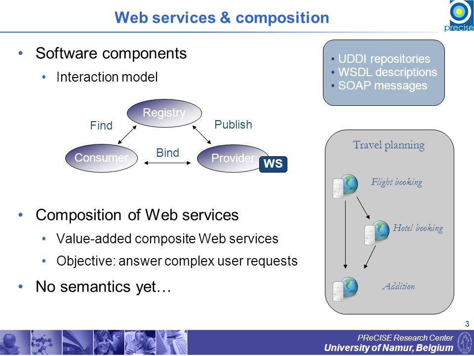 4 University of Namur, Belgium PReCISE Research Center Semantic Web services The Semantic Web Objectives Better interoperability between information systems Automation of information exchange Means Explicit machine-interpretable semantic descriptions Relies on ontologies [Gruber, 1993] Semantic description of Web Services Semantic languages OWL-S [Martin et al., 2004], WSMO [Arroyo and Stollberg, 2004], DIANE [Klein et al., 2005] Annotation to existing formats WSDL : SESMA [Peer and Vukovic, 2004], WSDL-S [Miller et al., 2004] UDDI : [Paolucci and Kawamura, 2002]