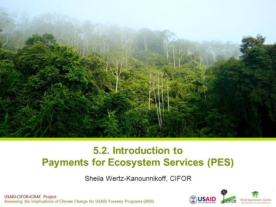 USAID-CIFOR-ICRAF Project Assessing the Implications of Climate Change for USAID Forestry Programs (2009) 5.2. Introduction to Payments for Ecosystem