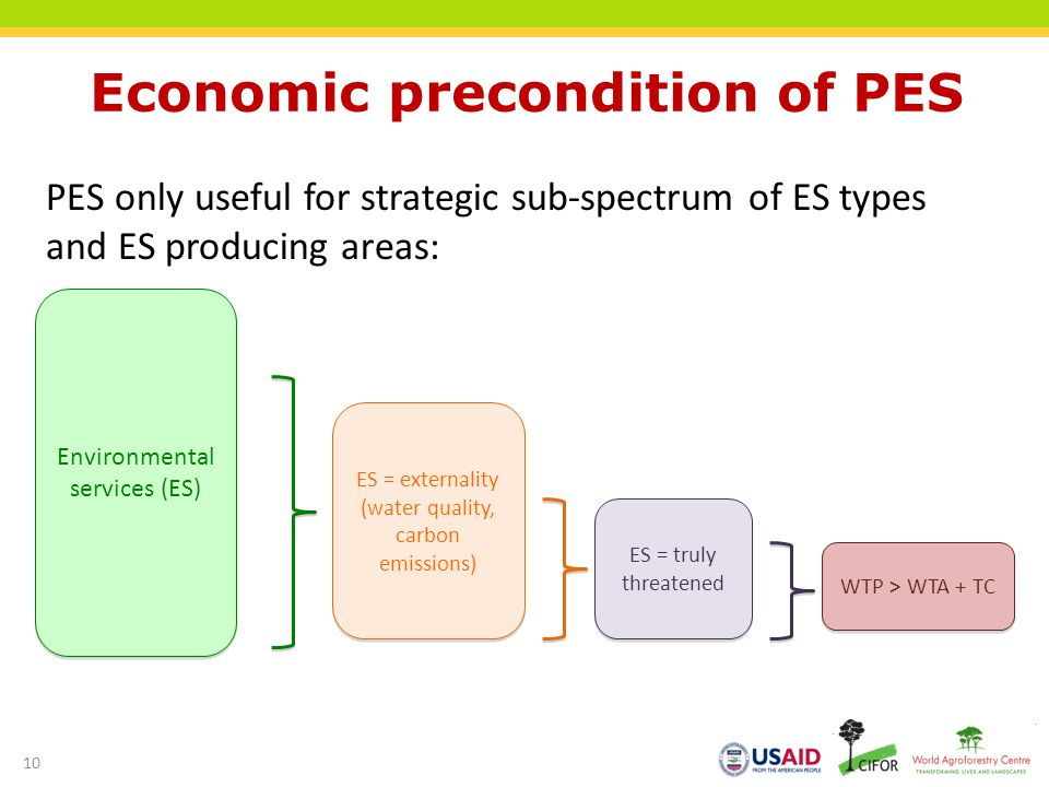 Economic precondition of PES PES only useful for strategic sub-spectrum of ES types and ES producing areas: Environmental services (ES) ES = externality (water quality, carbon emissions) ES = truly threatened WTP > WTA + TC 10