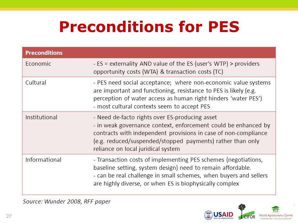 Preconditions for PES Preconditions Economic- ES = externality AND value of the ES (users WTP) > providers opportunity costs (WTA) & transaction costs (TC) Cultural- PES need social acceptance; where non-economic value systems are important and functioning, resistance to PES is likely (e.g.