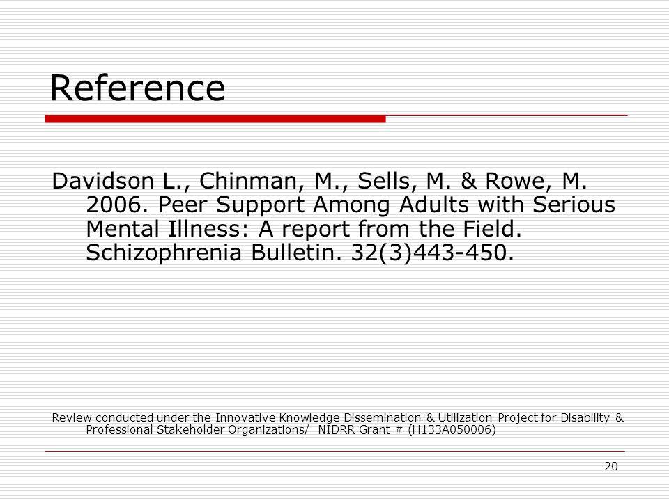 20 Reference Davidson L., Chinman, M., Sells, M.& Rowe, M.