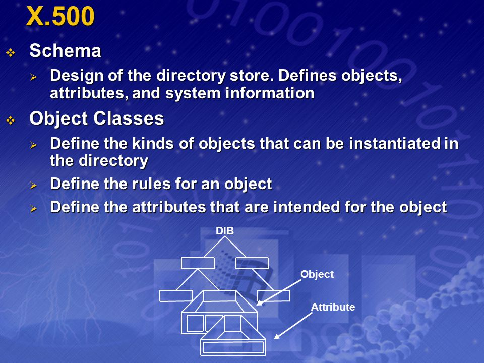X.500 Schema Schema Design of the directory store. Defines objects, attributes, and system information Design of the directory store. Defines objects,