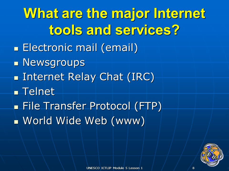 UNESCO ICTLIP Module 5 Lesson 119 Summary The Internet started as a military network called ARPANET, which was involved in networking research The Internet started as a military network called ARPANET, which was involved in networking research The Internet later expanded to include universities, businesses and individuals The Internet later expanded to include universities, businesses and individuals Today, the Internet is also referred to as the Net, Information Superhighway, and Cyberspace Today, the Internet is also referred to as the Net, Information Superhighway, and Cyberspace What is the Internets history?