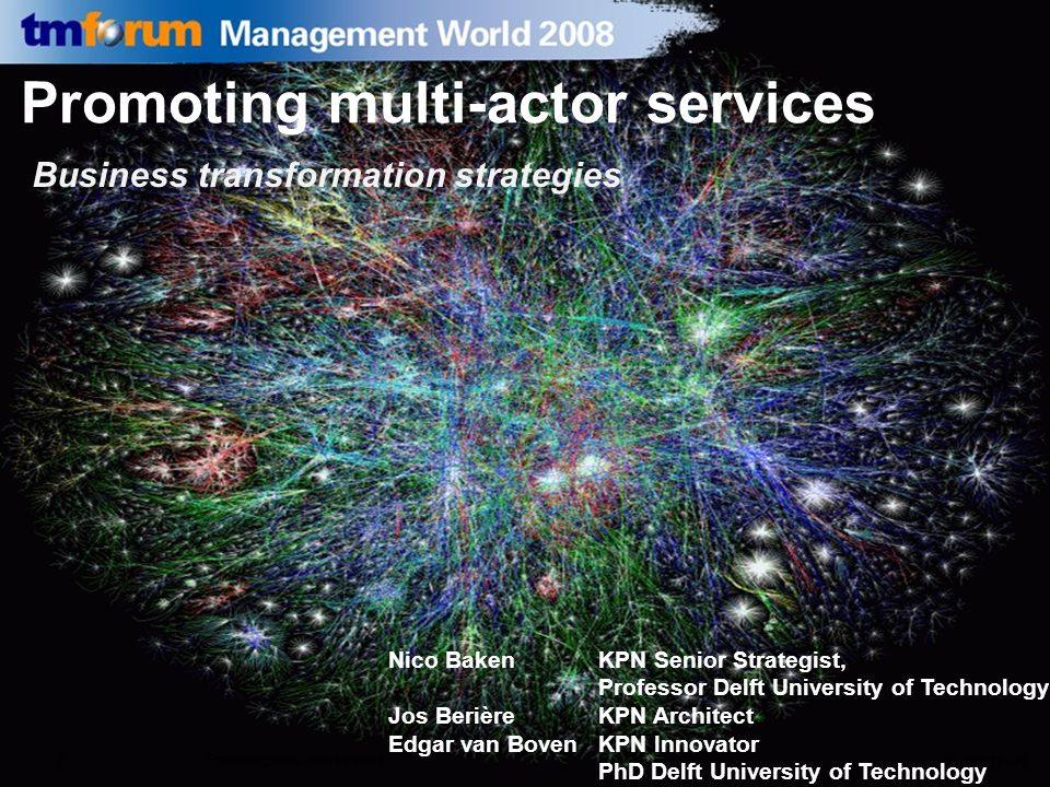 26 maart 2008Promoting multi actor services0 Promoting multi-actor services Business transformation strategies Nico Baken KPN Senior Strategist, Profe