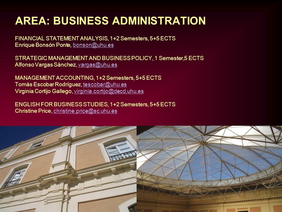 AREA: BUSINESS ADMINISTRATION FINANCIAL STATEMENT ANALYSIS, 1+2 Semesters, 5+5 ECTS Enrique Bonsón Ponte, bonson@uhu.esbonson@uhu.es STRATEGIC MANAGEM