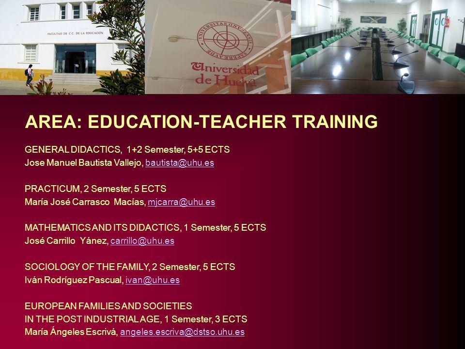 AREA: EDUCATION-TEACHER TRAINING GENERAL DIDACTICS, 1+2 Semester, 5+5 ECTS Jose Manuel Bautista Vallejo, bautista@uhu.esbautista@uhu.es PRACTICUM, 2 S