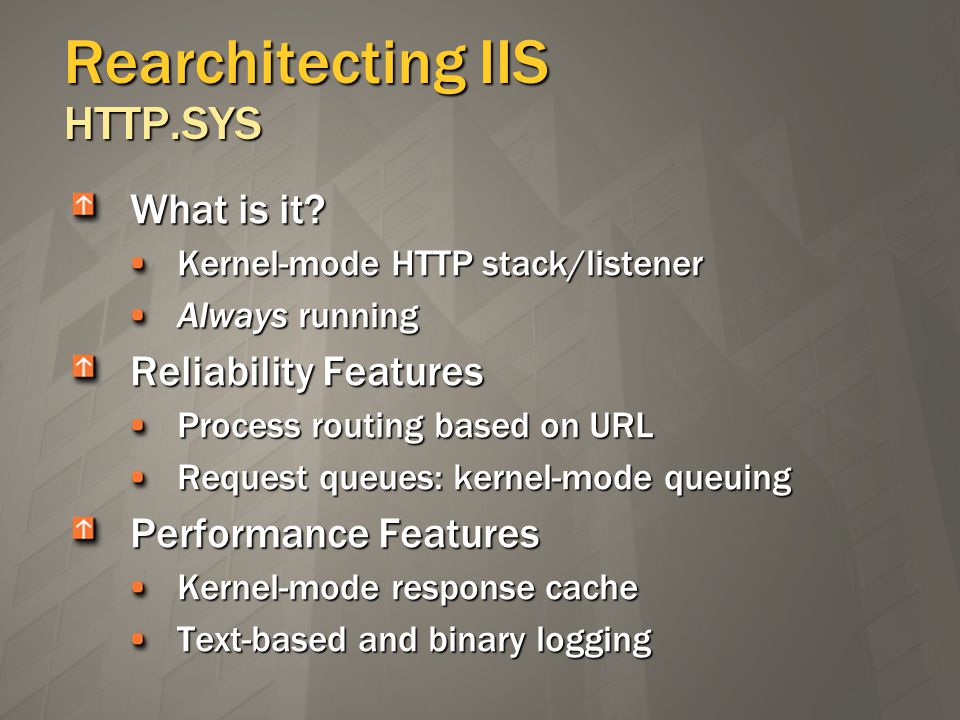 Rearchitecting IIS HTTP.SYS What is it.