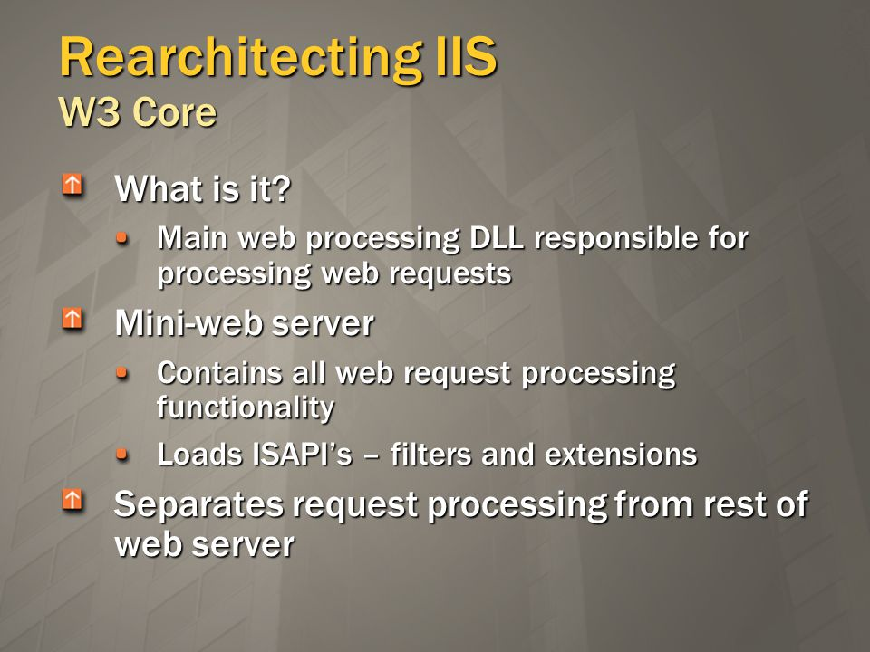 Rearchitecting IIS W3 Core What is it.