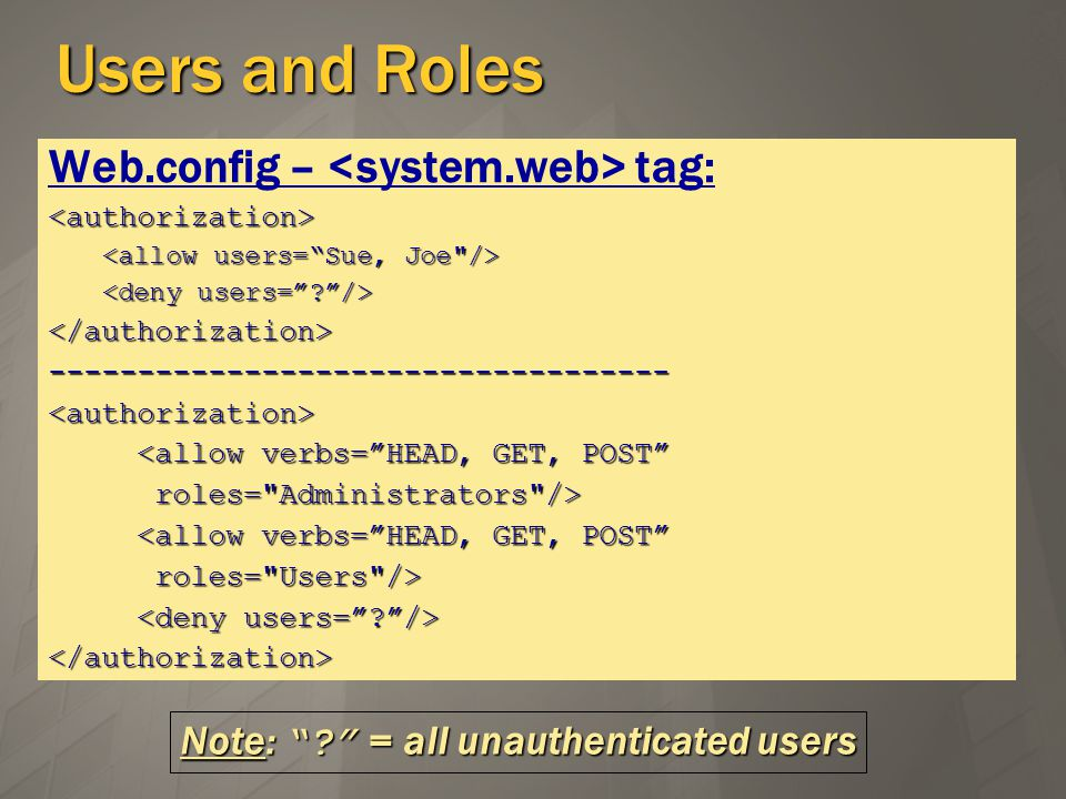 Users and Roles Web.config – tag:<authorization> </authorization>-----------------------------------<authorization> <allow verbs=HEAD, GET, POST <allow verbs=HEAD, GET, POST roles= Administrators /> roles= Administrators /> <allow verbs=HEAD, GET, POST <allow verbs=HEAD, GET, POST roles= Users /> roles= Users /> </authorization> Note: .