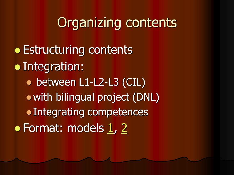 Organizing contents Estructuring contents Estructuring contents Integration: Integration: between L1-L2-L3 (CIL) between L1-L2-L3 (CIL) with bilingual project (DNL) with bilingual project (DNL) Integrating competences Integrating competences Format: models 1, 2 Format: models 1, 21212