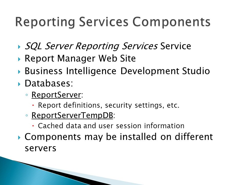 SQL Server Reporting Services Service Report Manager Web Site Business Intelligence Development Studio Databases: ReportServer: Report definitions, se