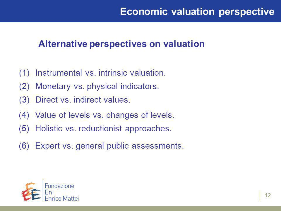 11 Why perform economic valuation Cost-benefit-analysis and environmental policy making Excessive pollution Protection of the natural environment Legal claims and natural resource damage assessment Exxon Valdez (CERCLA, NOAA) Environmental accounting (national and firm level) Satellite national accounting system Corporate social responsibility reports