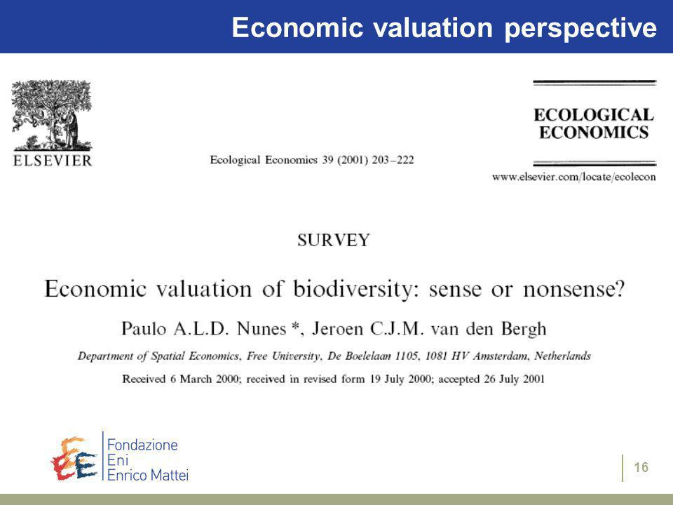 15 Economic valuation perspective