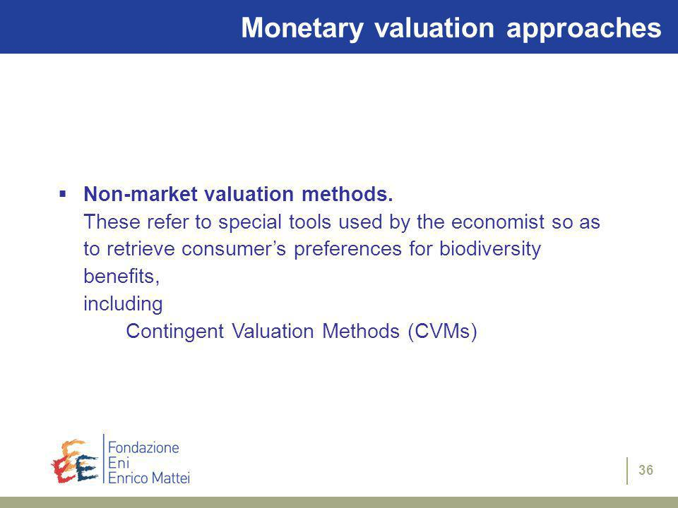 35 Monetary valuation approaches Market price valuation mechanisms.