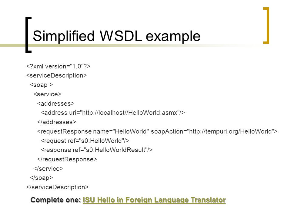 Simplified WSDL example Complete one: ISU Hello in Foreign Language Translator ISU Hello in Foreign Language TranslatorISU Hello in Foreign Language T