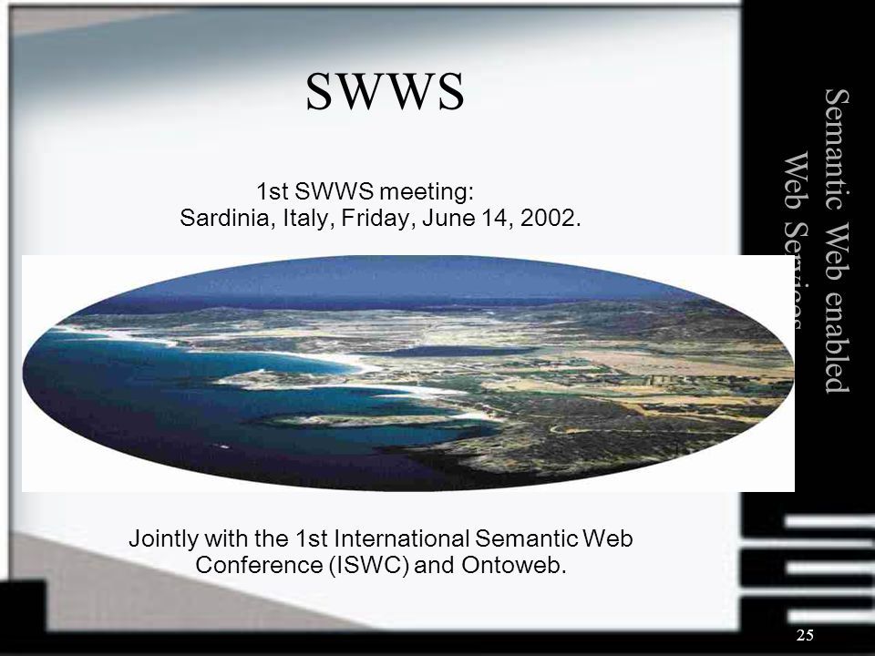 25 1st SWWS meeting: Sardinia, Italy, Friday, June 14, 2002. Jointly with the 1st International Semantic Web Conference (ISWC) and Ontoweb. Semantic W
