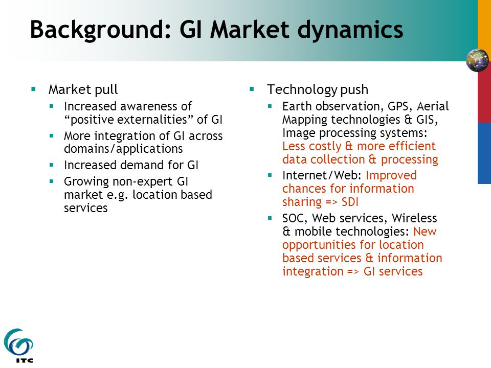 Background: GI Market dynamics Market pull Increased awareness of positive externalities of GI More integration of GI across domains/applications Increased demand for GI Growing non-expert GI market e.g.